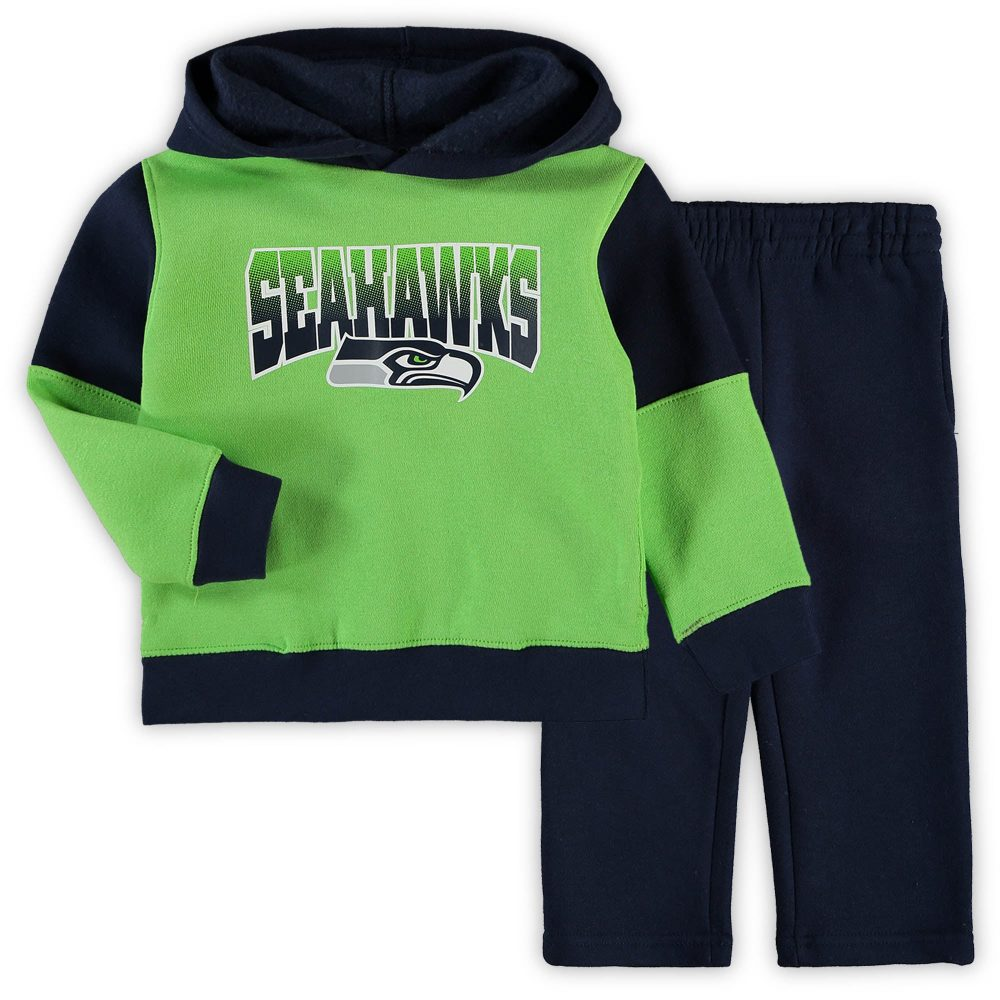 Toddler Neon Green/College Navy Seattle Seahawks S barry sanders throwback jerseys